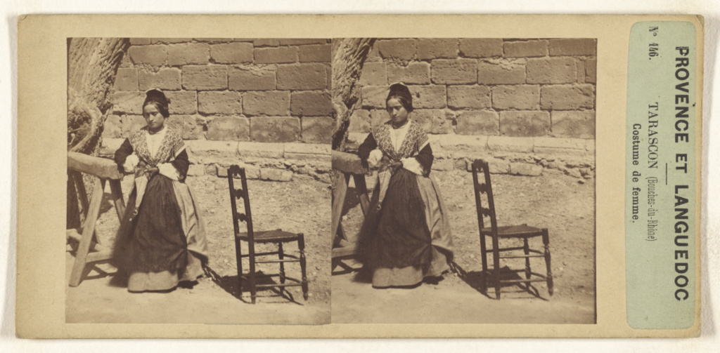 Provence et Languedoc. Tarascon (Bouches-de-Rhone) Costume de femme.; Unknown maker, French; about 1860; Albumen silver print; 84.XC.873.590; The J. Paul Getty Museum, Los Angeles; Rights Statement: No Copyright - United States