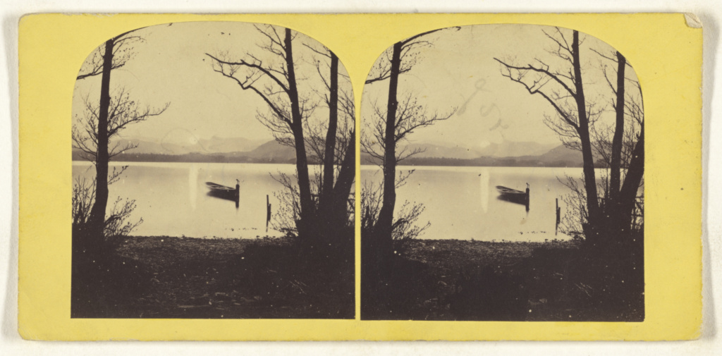 [Rowboat on a lake, composed between trees]; Unknown; about 1870; Albumen silver print; 84.XC.873.8507; The J. Paul Getty Museum, Los Angeles; Rights Statement: No Copyright - United States