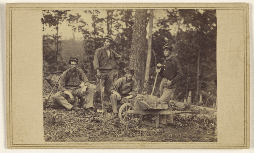 69th Reg. N.Y.V. Pioneer Party; Attributed to Mathew B. Brady (American, about 1823 - 1896); about 1862; Albumen silver print; 84.XC.873.5869; The J. Paul Getty Museum, Los Angeles; Rights Statement: No Copyright - United States