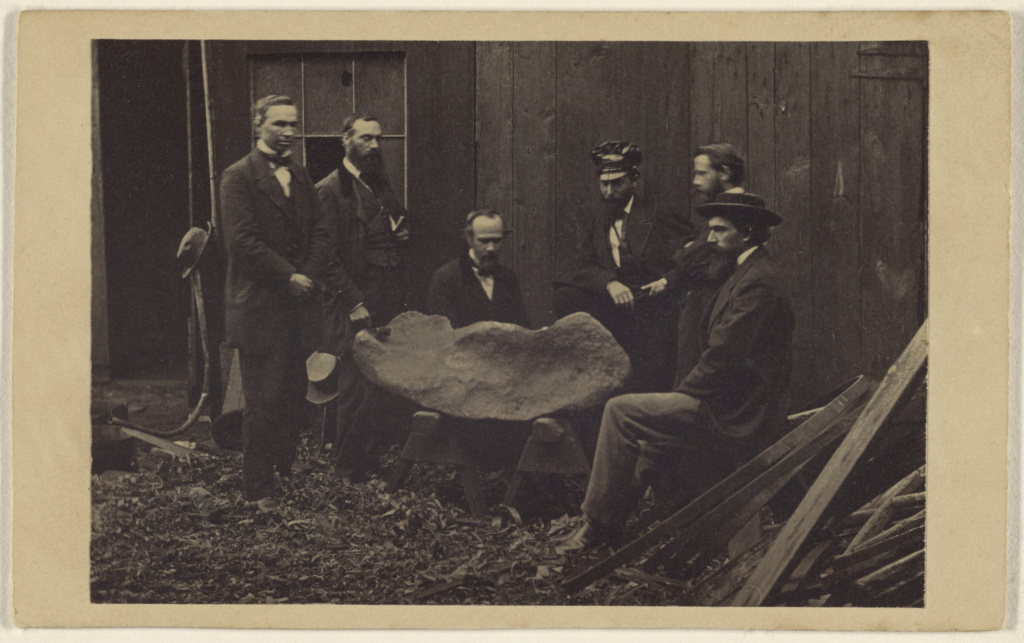 [Six men viewing a mastodon bone]; Unknown; 1865–1870; Albumen silver print; 84.XC.873.5992; Rights Statement: No Copyright - United States