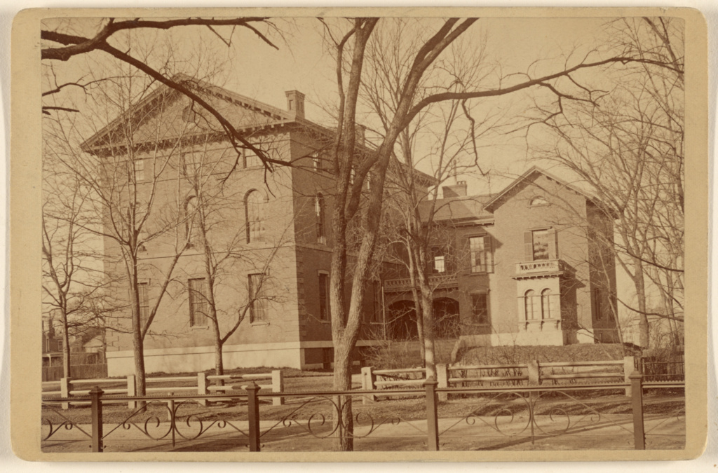 [View of a college building]; Gustavus W. Pach (American, born Germany, 1845 - 1904); 1880s; Albumen silver print; 84.XD.879.224; The J. Paul Getty Museum, Los Angeles; Rights Statement: No Copyright - United States