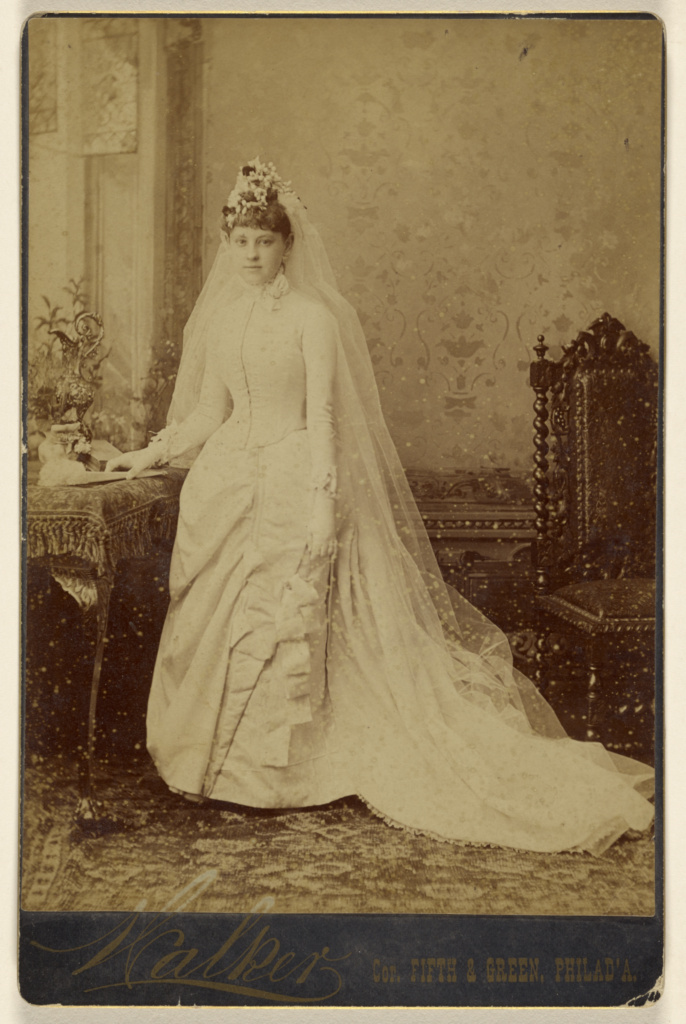 Unidentified woman in wedding gown, standing] (Getty Museum)
