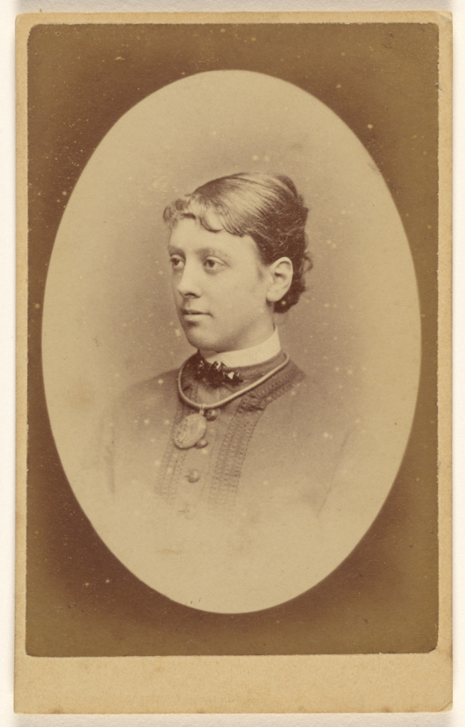 [Unidentified woman in 3/4 profile, in quasi-oval style]; R.F. Barnes (British, about 1823 - 1898); December 23, 1877; Albumen silver print; 84.XD.1157.95; The J. Paul Getty Museum, Los Angeles; Rights Statement: No Copyright - United States