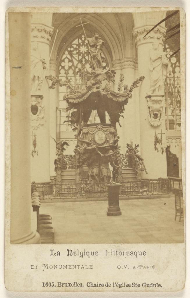 Bruxelles. Chaire de l'eglise Ste Gudule.; J. Quéval (French, active Paris, France 1870s); 1865–1875; Albumen silver print; 84.XD.1157.1177; The J. Paul Getty Museum, Los Angeles; Rights Statement: No Copyright - United States