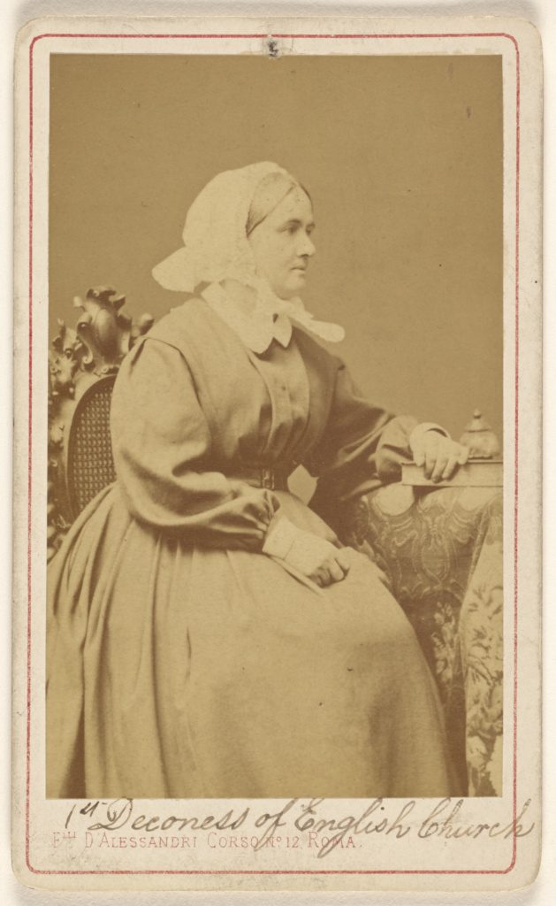 Deaconess Elizabeth Catherine Ferard, 1st. deaconess in the English Church. 1861.; Fratelli D'Alessandri (Italian, founded about 1850, dissolved 1930); about 1865; Albumen silver print; 84.XD.1157.1351; The J. Paul Getty Museum, Los Angeles; Rights Statement: No Copyright - United States