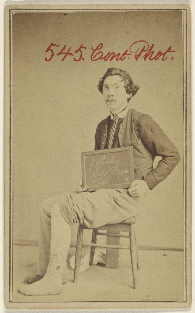 [J. Shuhey, E 57. Mass. 18746 d., Civil War victim]; Unknown maker, American; 1862–1872; Albumen silver print; 84.XD.1157.1942; The J. Paul Getty Museum, Los Angeles; Rights Statement: No Copyright - United States
