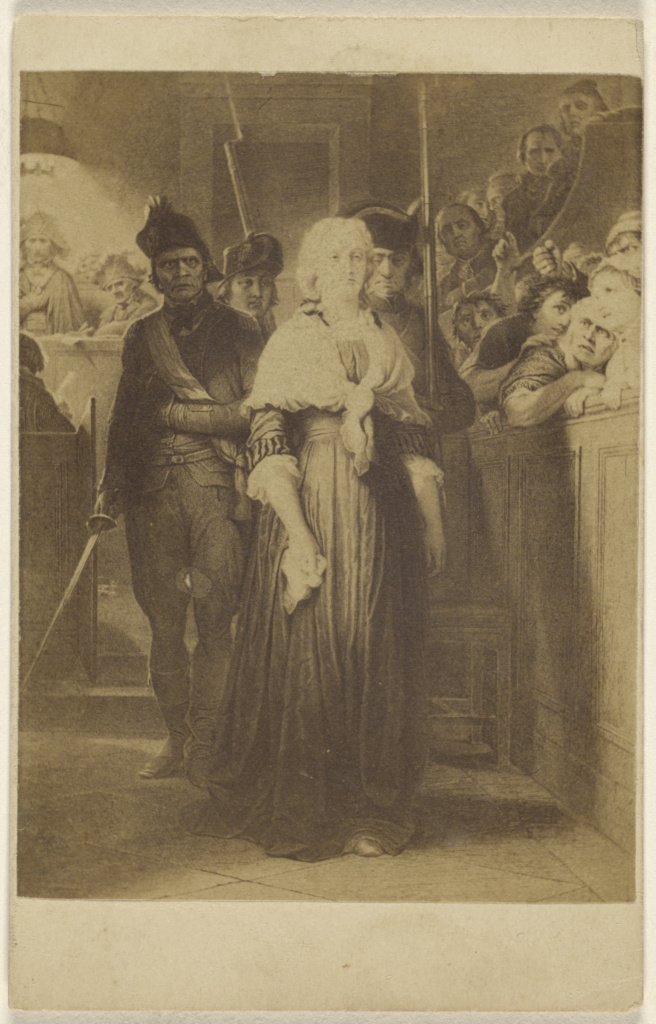 [Copy of an unidentified painting: women being led into a courtroom by men with rifles and swords]; Unknown; 1865–1875; Albumen silver print; 84.XD.1157.2097; The J. Paul Getty Museum, Los Angeles; Rights Statement: No Copyright - United States