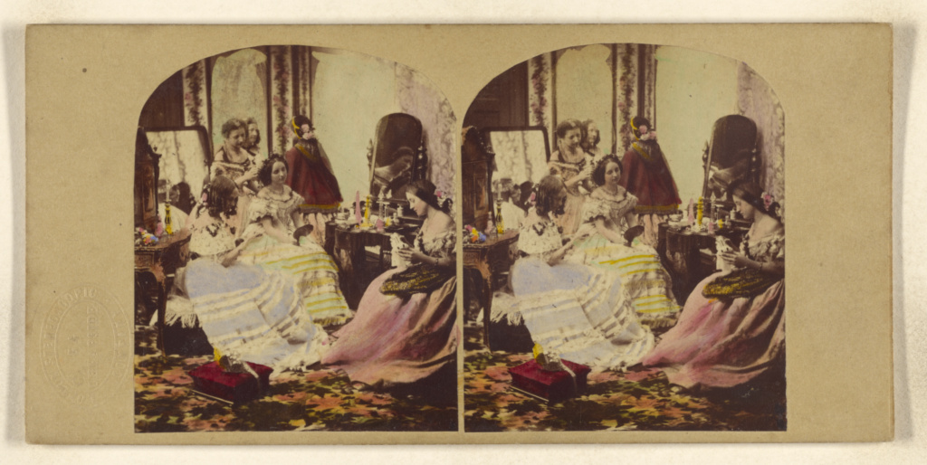 [Before the Ball]; Joseph John Elliott (British, 1835 - 1903), London Stereoscopic Company (active 1854 - 1890); about 1860; Hand-colored albumen silver print; 84.XC.1625.86; The J. Paul Getty Museum, Los Angeles; Rights Statement: No Copyright - United States