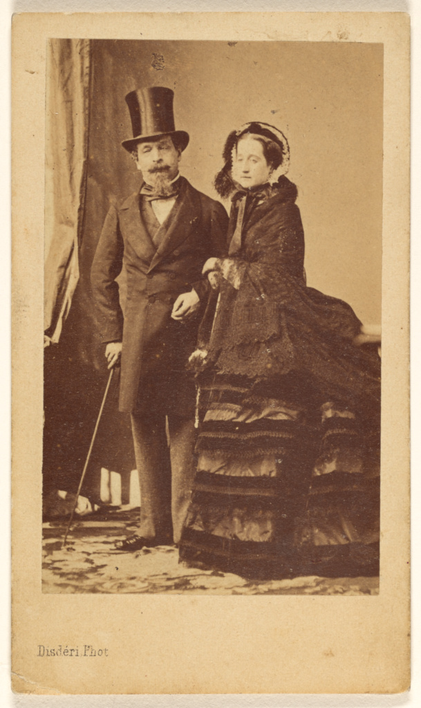 Napoléon III et Eugénie; André Adolphe-Eugène Disdéri (French, 1819 - 1889); about 1870; Albumen silver print; 8.5 × 5.2 cm (3 3/8 × 2 1/16 in.); 84.XD.378.8; Rights Statement: No Copyright - United States