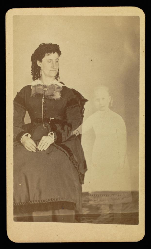 Mrs. Tinkham; William H. Mumler (American, 1832 - 1884); Boston, Massachusetts, United States; 1862–1875; Albumen silver print; 9.5 × 5.7 cm (3 3/4 × 2 1/4 in.); 84.XD.760.1.7; The J. Paul Getty Museum, Los Angeles; Rights Statement: No Copyright - United States
