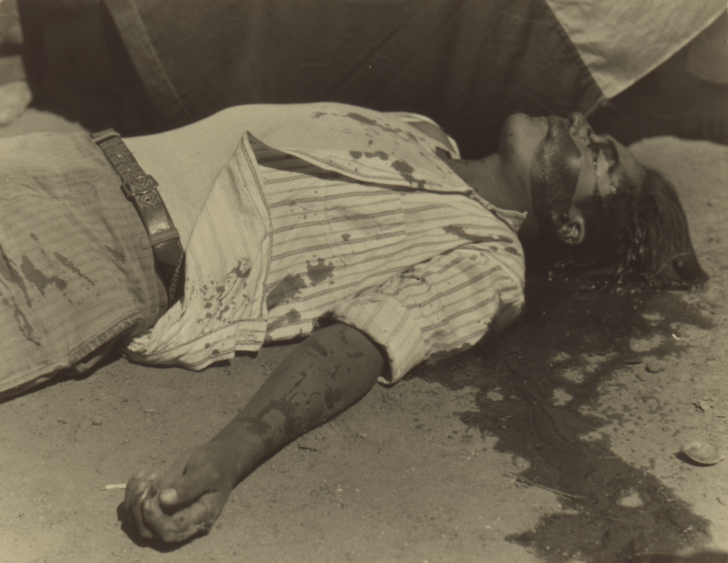 Striking Worker Murdered; Manuel Álvarez Bravo (Mexican, 1902 - 2002); Mexico; 1934; Gelatin silver print; 19.1 × 24.1 cm (7 1/2 × 9 1/2 in.); 92.XM.23.27; The J. Paul Getty Museum, Los Angeles; Rights Statement: In Copyright; Copyright: © Archivo Manuel Álvarez Bravo, S.C.