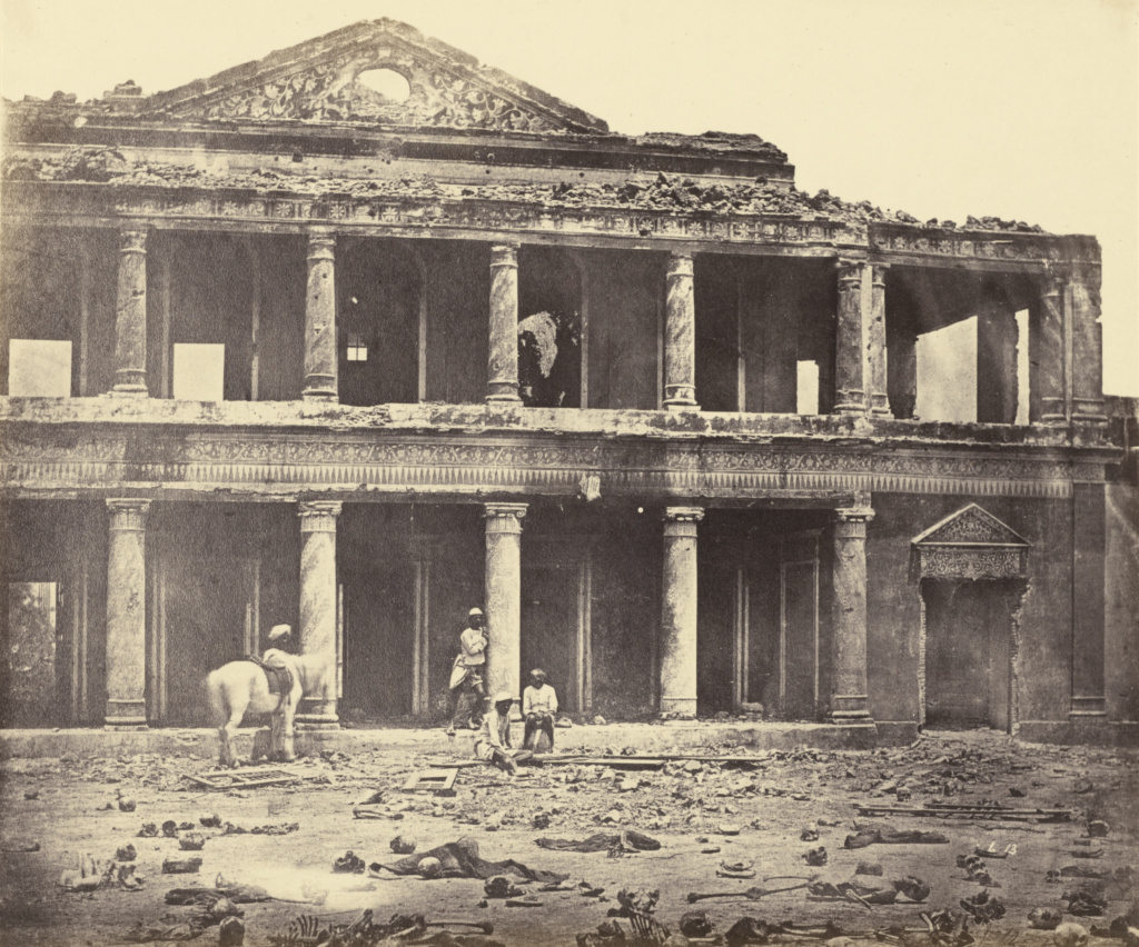 [Interior of Secundrabagh After the Massacre]; Felice Beato (English, born Italy, 1832 - 1909), Henry Hering (British, 1814 - 1893); India; 1858–1862; Albumen silver print; 24 × 28.7 cm (9 7/16 × 11 5/16 in.); 84.XO.421.13; The J. Paul Getty Museum, Los Angeles; Rights Statement: No Copyright - United States