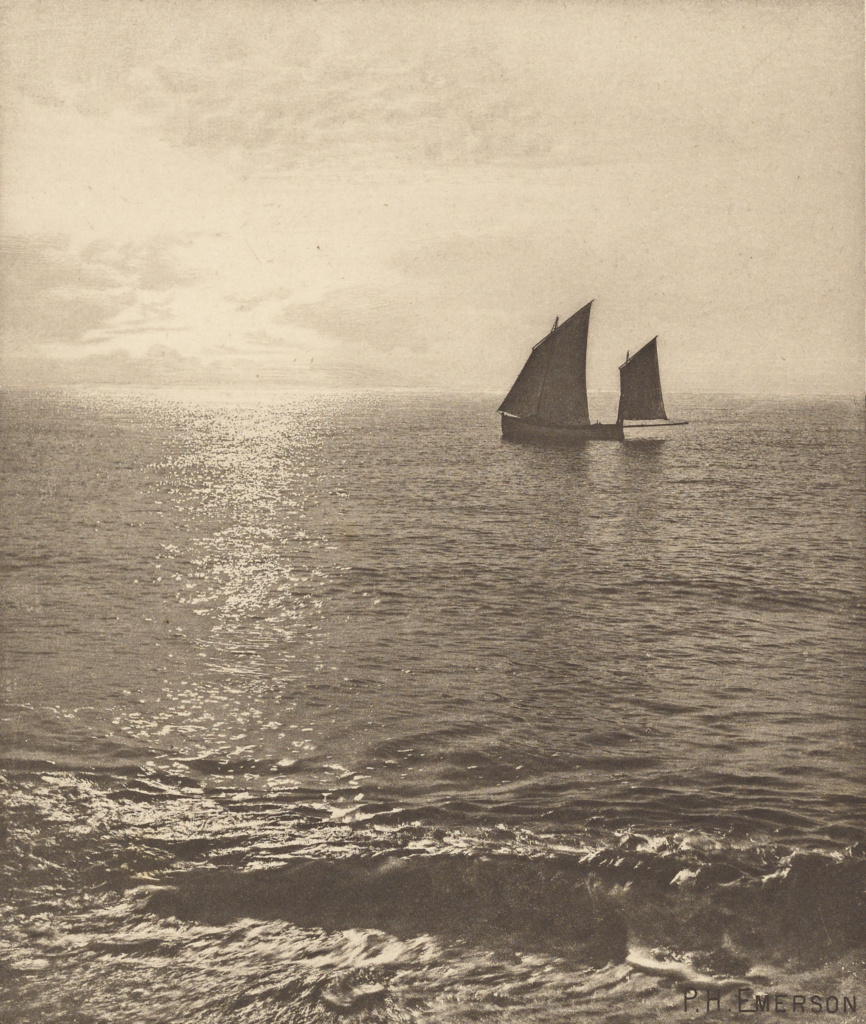 Sunrise at Sea; Peter Henry Emerson (British, born Cuba, 1856 - 1936); London, England; 1887; Photogravure; 18.1 × 15.4 cm (7 1/8 × 6 1/16 in.); 84.XB.696.3.12; The J. Paul Getty Museum, Los Angeles; Rights Statement: No Copyright - United States
