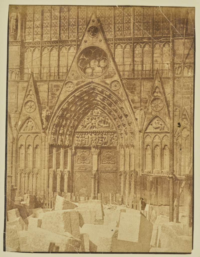 [Saint-Étienne portal, Notre-Dame]; Hippolyte Bayard (French, 1801 - 1887); Paris, France; September 1847; Albumen silver print; 22.9 × 17.5 cm (9 × 6 7/8 in.); 84.XO.968.103; The J. Paul Getty Museum, Los Angeles; Rights Statement: No Copyright - United States