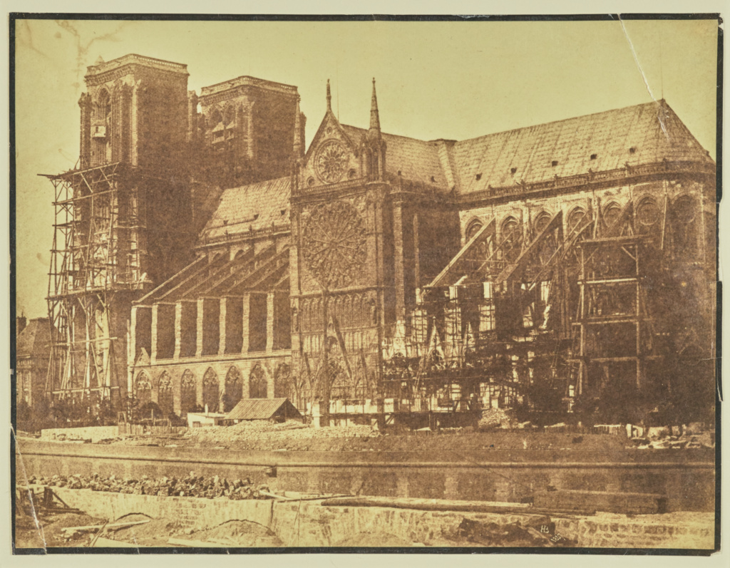 [South side of Notre-Dame, Paris, during restoration]; Hippolyte Bayard (French, 1801 - 1887); Paris, France; 1847; Albumen silver print; 17.6 × 23.3 cm (6 15/16 × 9 3/16 in.); 84.XO.968.116; The J. Paul Getty Museum, Los Angeles; Rights Statement: No Copyright - United States
