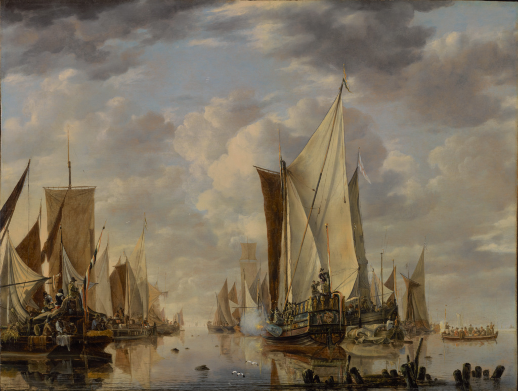 Shipping in a Calm at Flushing with a States General Yacht Firing a Salute; Jan van de Cappelle (Dutch, 1626 - 1679); 1649; Oil on oak panel; 69.9 × 92.1 cm (27 1/2 × 36 1/4 in.); 96.PB.7; The J. Paul Getty Museum, Los Angeles; Rights Statement: No Copyright - United States