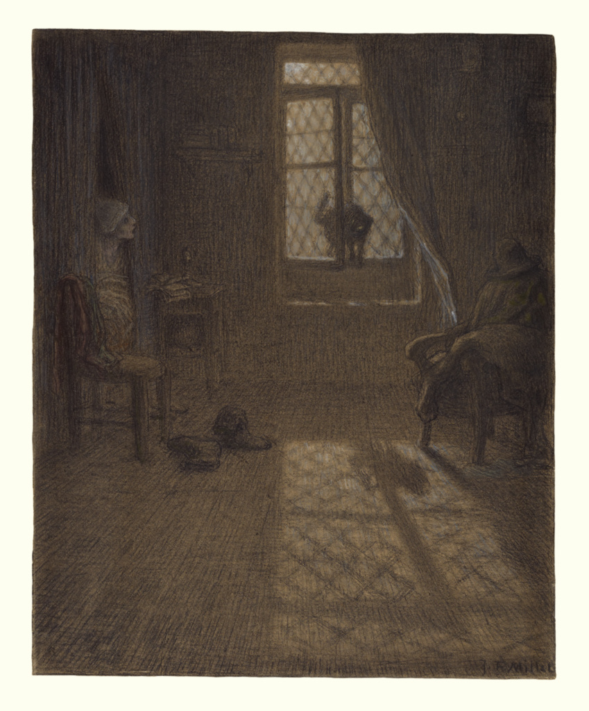 """""""Le chat"""" or The Cat at the Window; Jean-François Millet (French, 1814 - 1875); about 1857–1858; Conté crayon and pastel with stumping and blending, fixed on wove paper; 49.8 × 39.4 cm (19 5/8 × 15 1/2 in.); 96.GF.12; The J. Paul Getty Museum, Los Angeles; Rights Statement: No Copyright - United States"""