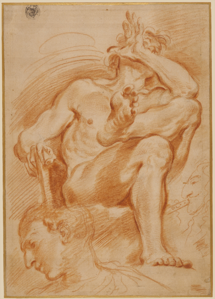 Sheet of Studies: A Seated Nude Man, A Youthful Head and a Caricature Head of a Man Playing a Pipe; Domenico Maria Canuti (Italian, 1620 - 1684); about 1669–1671; Red chalk; 39.5 × 27.6 cm (15 9/16 × 10 7/8 in.); 96.GB.331; Rights Statement: No Copyright - United States