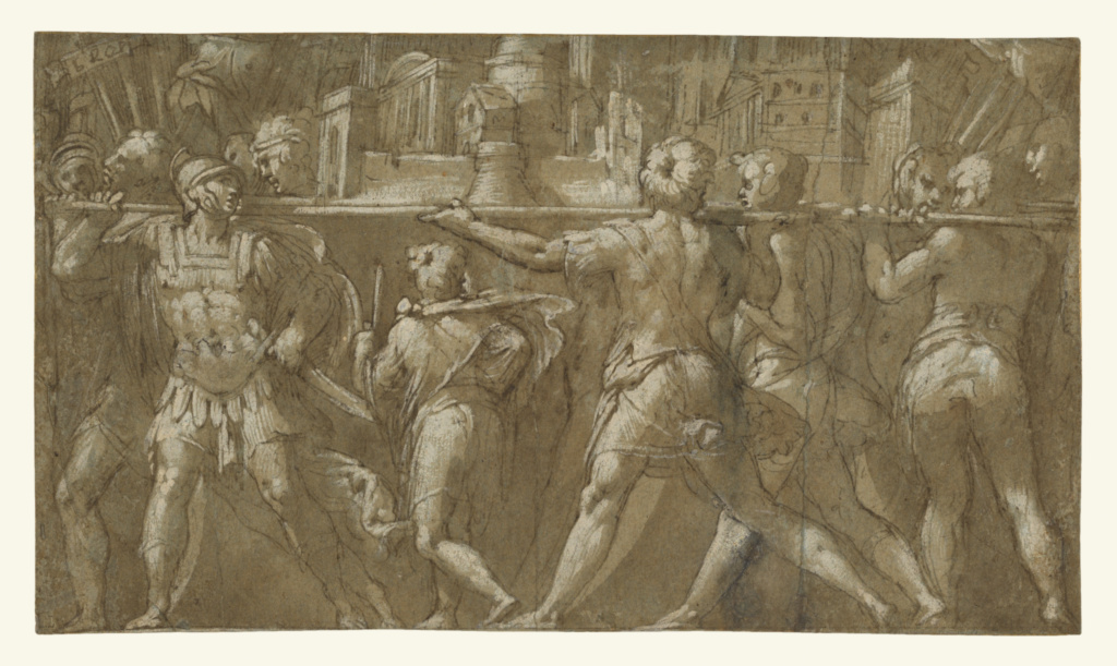 Soldiers Carrying a Model of a City; Taddeo Zuccaro (Italian, 1529 - 1566); about 1548; Pen and brown ink, brush with brown wash, over black chalk, white heightening, on blue paper; 15.9 × 27.6 cm (6 1/4 × 10 7/8 in.); 96.GB.329; The J. Paul Getty Museum, Los Angeles; Rights Statement: No Copyright - United States