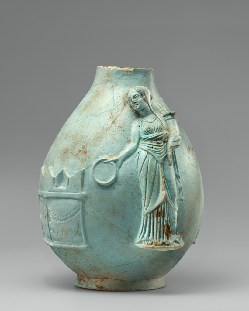 Fragmentary Oinochoe; Unknown; 243–222 B.C.; Faience; 22.2 × 14 cm (8 3/4 × 5 1/2 in.); 96.AI.58; Rights Statement: No Copyright - United States