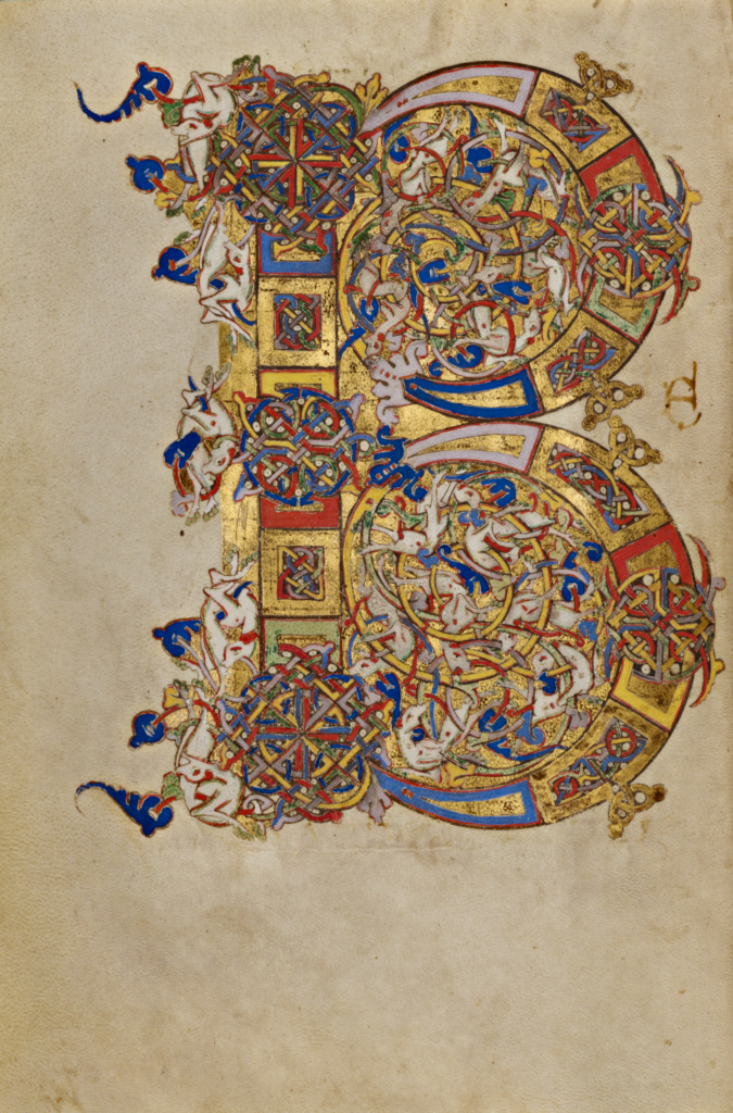 Inhabited Initial B; Unknown; Montecassino, Italy; 1153; Tempera colors, gold leaf, gold paint, and ink on parchment; Leaf: 19.2 × 13.2 cm (7 9/16 × 5 3/16 in.); Ms. Ludwig IX 1 (83.ML.97), fol. 140v; The J. Paul Getty Museum, Los Angeles, Ms. Ludwig IX 1, fol. 140v; Rights Statement: No Copyright - United States