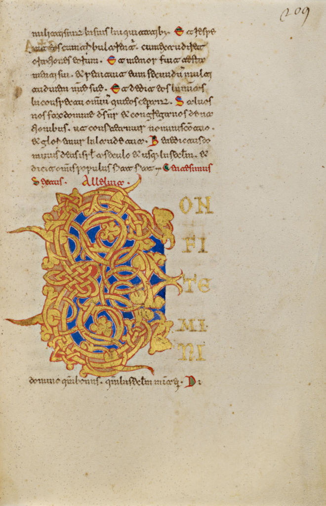 Decorated Initial C; Unknown; Montecassino, Italy; 1153; Tempera colors, gold leaf, gold paint, and ink; Leaf: 19.2 × 13.2 cm (7 9/16 × 5 3/16 in.); Ms. Ludwig IX 1 (83.ML.97), fol. 209; The J. Paul Getty Museum, Los Angeles, Ms. Ludwig IX 1, fol. 209; Rights Statement: No Copyright - United States