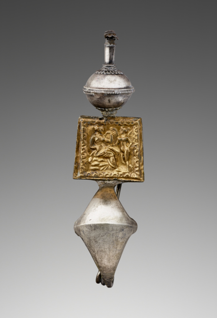Dress Pin; Unknown; South Italy; 350–300 B.C.; Silver and gold; 11 × 3 × 2 cm (4 5/16 × 1 3/16 × 13/16 in.); 96.AM.235; The J. Paul Getty Museum, Villa Collection, Malibu, California, Gift of Barbara and Lawrence Fleischman; Rights Statement: No Copyright - United States