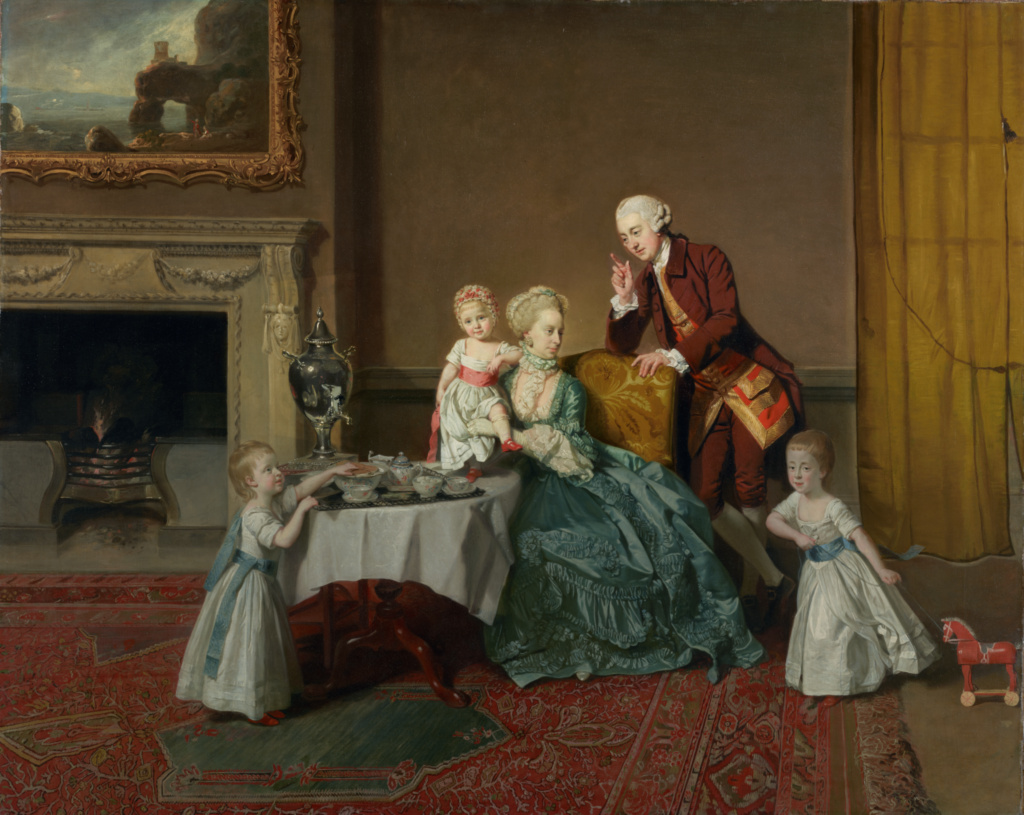 John, Fourteenth Lord Willoughby de Broke, and His Family; Johann Zoffany (German, 1733 - 1810); England; about 1766; Oil on canvas; 101.9 × 127.3 cm (40 1/8 × 50 1/8 in.); 96.PA.312; The J. Paul Getty Museum, Los Angeles; Rights Statement: No Copyright - United States