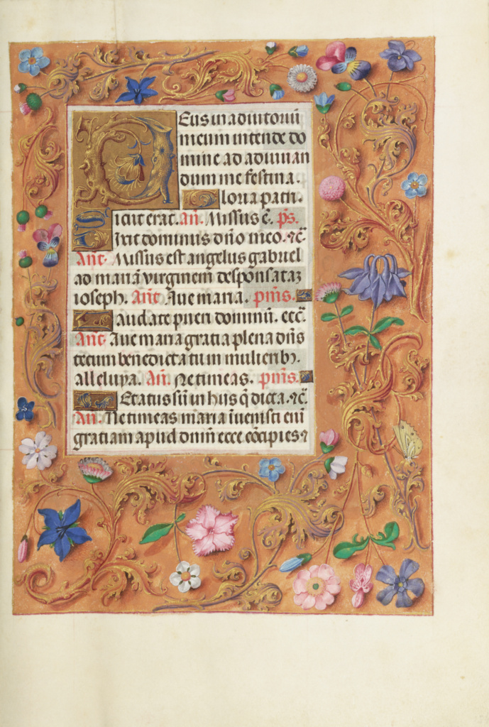 Decorated Text Page; Unknown; Bruges, Belgium; about 1510 - 1520; Tempera colors, gold, and ink on parchment; Leaf: 23.2 × 16.7 cm (9 1/8 × 6 9/16 in.); Ms. Ludwig IX 18 (83.ML.114), fol. 154; The J. Paul Getty Museum, Los Angeles, Ms. Ludwig IX 18, fol. 154; Rights Statement: No Copyright - United States