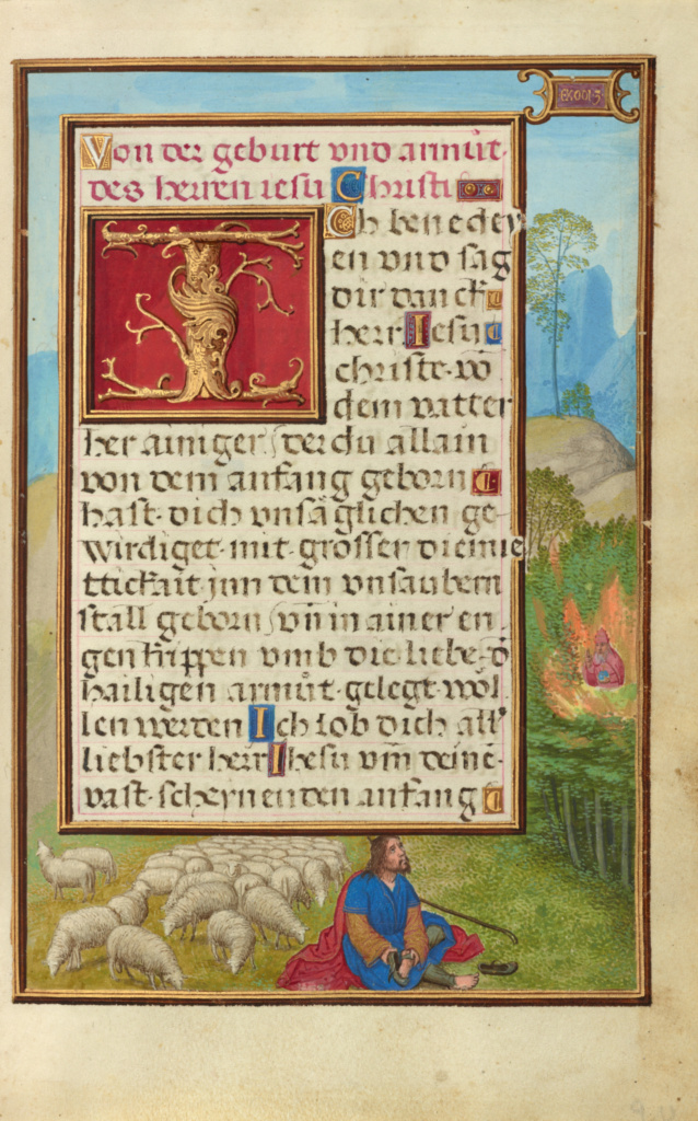 Border with Moses and the Burning Bush; Simon Bening (Flemish, about 1483 - 1561); Bruges, Belgium; about 1525 - 1530; Tempera colors, gold paint, and gold leaf on parchment; Leaf: 16.8 × 11.4 cm (6 5/8 × 4 1/2 in.); Ms. Ludwig IX 19 (83.ML.115), fol. 20; The J. Paul Getty Museum, Los Angeles, Ms. Ludwig IX 19, fol. 20; Rights Statement: No Copyright - United States