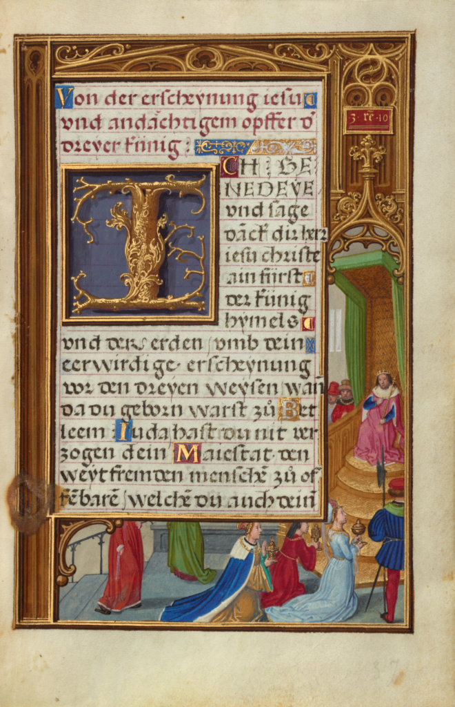 Border with the Queen of Sheba before King Solomon; Simon Bening (Flemish, about 1483 - 1561); about 1525–1530; Tempera colors, gold paint, and gold leaf on parchment; Leaf: 16.8 × 11.4 cm (6 5/8 × 4 1/2 in.); Ms. Ludwig IX 19 (83.ML.115), fol. 37; Rights Statement: No Copyright - United States