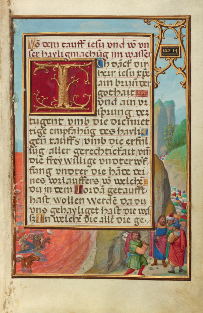 Border with the Crossing of the Red Sea; Simon Bening (Flemish, about 1483 - 1561); Bruges, Belgium; about 1525 - 1530; Tempera colors, gold paint, and gold leaf on parchment; Leaf: 16.8 × 11.4 cm (6 5/8 × 4 1/2 in.); Ms. Ludwig IX 19 (83.ML.115), fol. 59; The J. Paul Getty Museum, Los Angeles, Ms. Ludwig IX 19, fol. 59; Rights Statement: No Copyright - United States