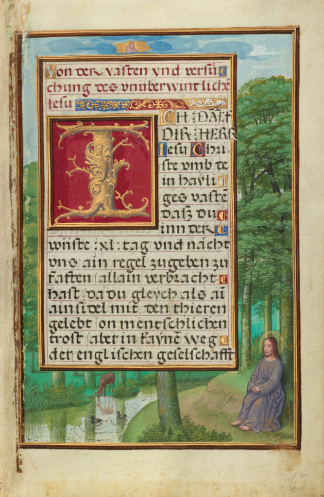 Border with Christ in the Wilderness; Simon Bening (Flemish, about 1483 - 1561); about 1525 - 1530; Tempera colors, gold paint, and gold leaf on parchment; Leaf: 16.8 × 11.4 cm (6 5/8 × 4 1/2 in.); Ms. Ludwig IX 19 (83.ML.115), fol. 63; Rights Statement: No Copyright - United States