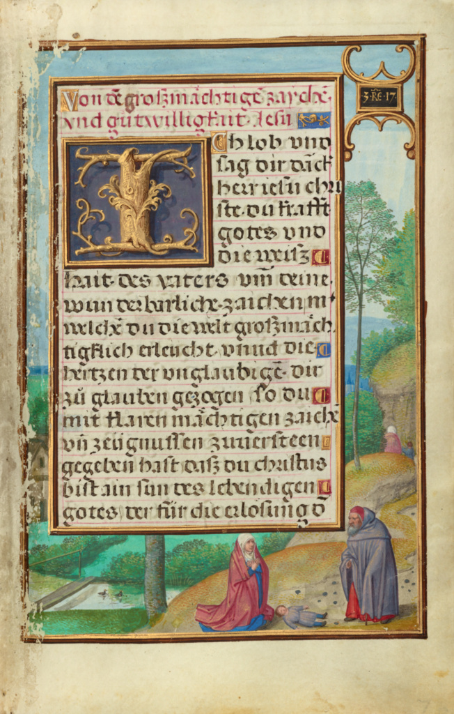 Border with Elijah Raising the Son of the Widow of Sareptha; Simon Bening (Flemish, about 1483 - 1561); Bruges, Belgium; about 1525–1530; Tempera colors, gold paint, and gold leaf on parchment; Leaf: 16.8 × 11.4 cm (6 5/8 × 4 1/2 in.); Ms. Ludwig IX 19 (83.ML.115), fol. 70; The J. Paul Getty Museum, Los Angeles, Ms. Ludwig IX 19, fol. 70; Rights Statement: No Copyright - United States