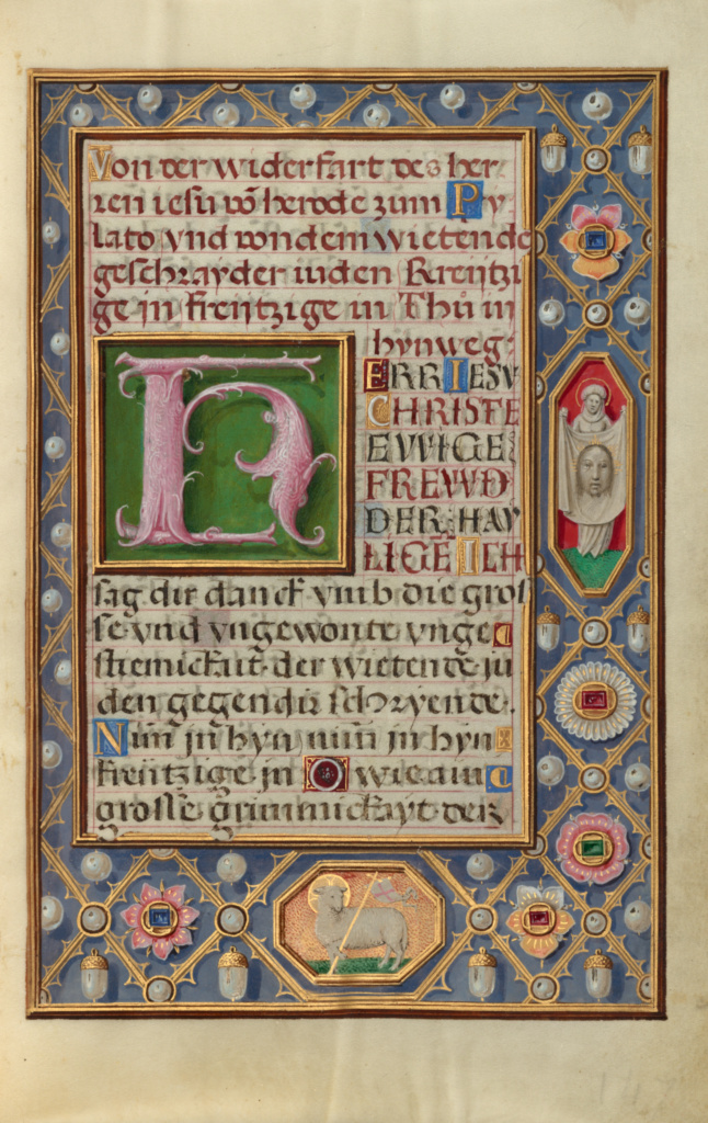 Decorated Text Page; Unknown; Bruges, Belgium; about 1525–1530; Tempera colors, gold paint, and gold leaf on parchment; Leaf: 16.8 × 11.4 cm (6 5/8 × 4 1/2 in.); Ms. Ludwig IX 19 (83.ML.115), fol. 148; The J. Paul Getty Museum, Los Angeles, Ms. Ludwig IX 19, fol. 148; Rights Statement: No Copyright - United States