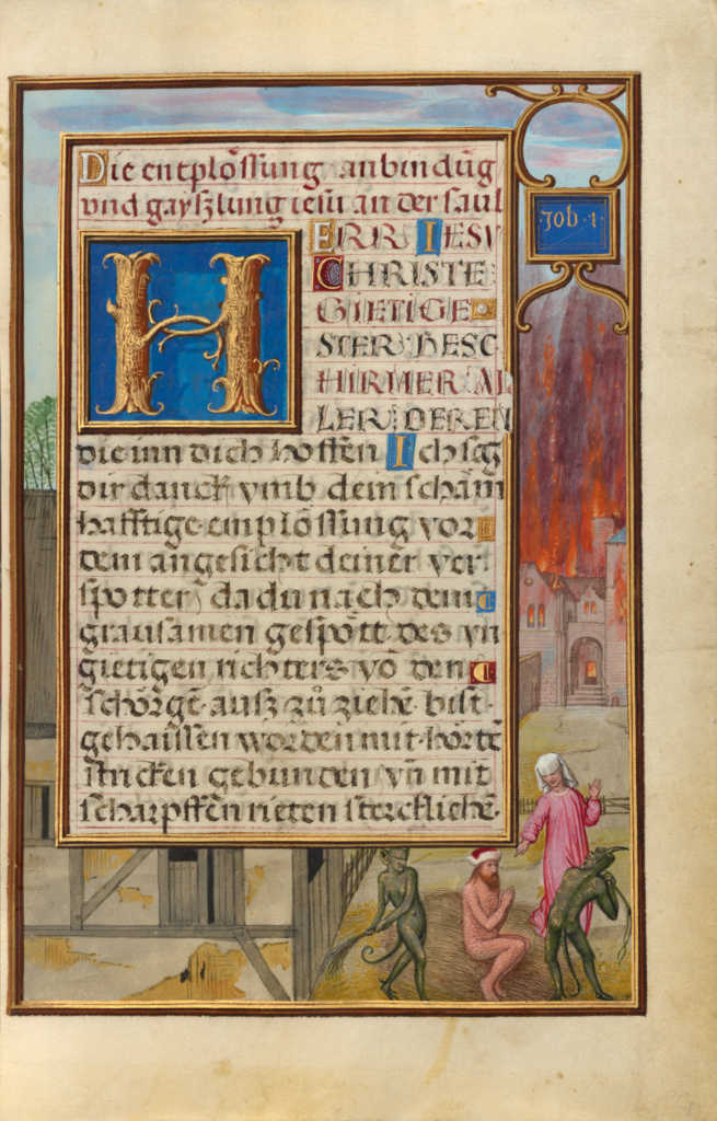 Border with Job Mocked by His Wife and Tormented by Two Devils; Simon Bening (Flemish, about 1483 - 1561); Bruges, Belgium; about 1525–1530; Tempera colors, gold paint, and gold leaf on parchment; Leaf: 16.8 × 11.4 cm (6 5/8 × 4 1/2 in.); Ms. Ludwig IX 19 (83.ML.115), fol. 155; The J. Paul Getty Museum, Los Angeles, Ms. Ludwig IX 19, fol. 155; Rights Statement: No Copyright - United States