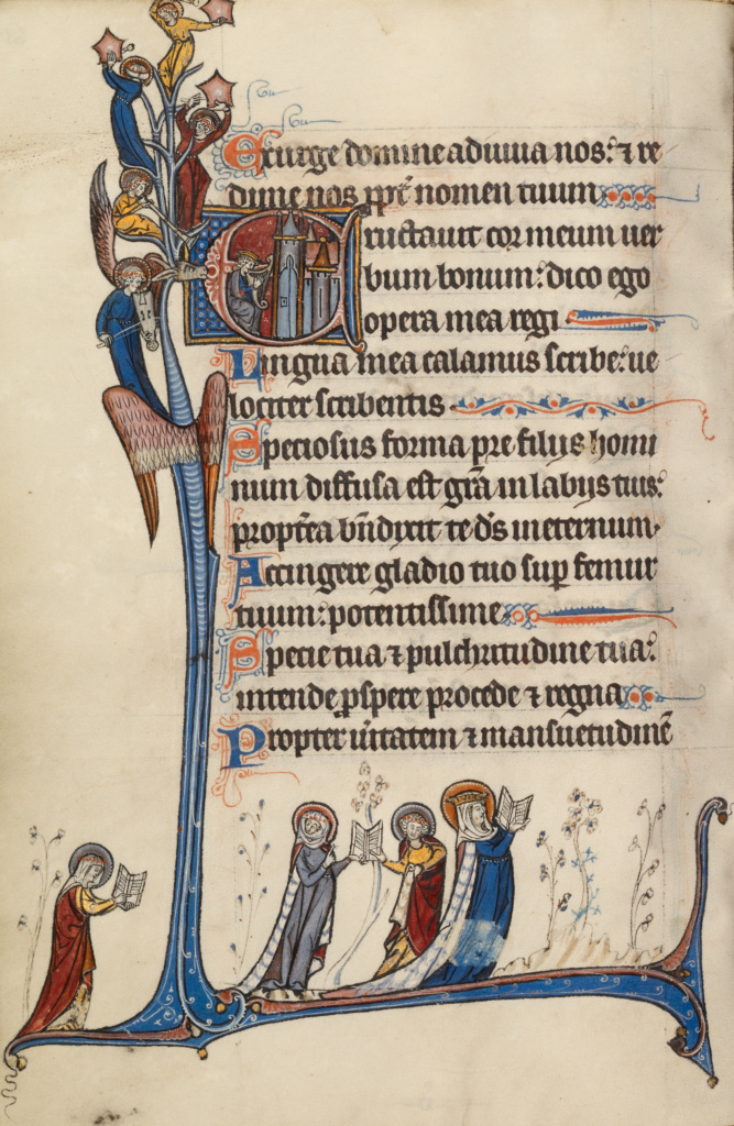 Initial E: David Playing the Harp; Bute Master (Franco-Flemish, active about 1260 - 1290); Northeastern (illuminated), France; text and illumination about 1285; Tempera colors, gold, and iron gall ink on parchment; Leaf: 17 × 11.9 cm (6 11/16 × 4 11/16 in.); Ms. 46 (92.MK.92), fol. 61v; The J. Paul Getty Museum, Los Angeles, Ms. 46, fol. 61v; Rights Statement: No Copyright - United States
