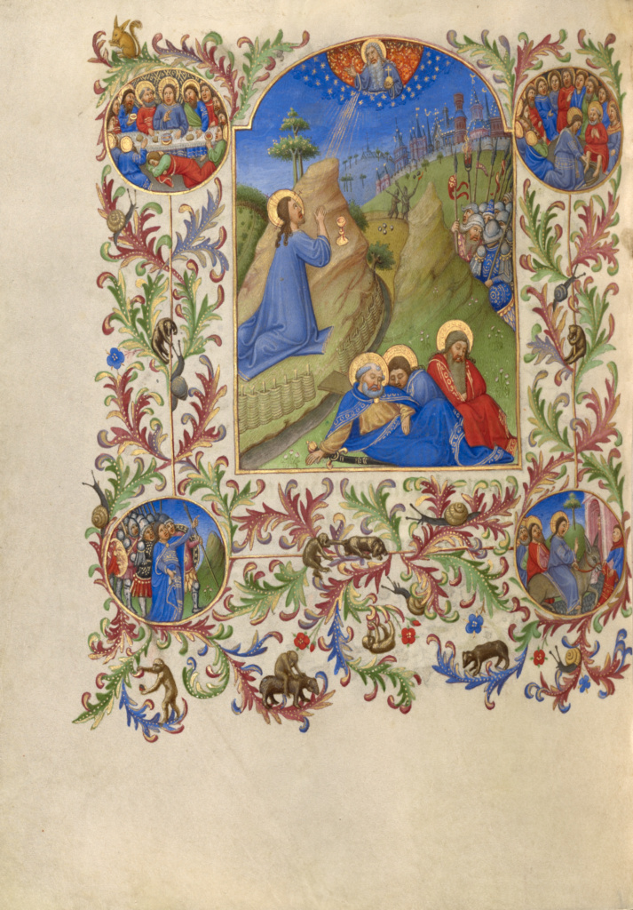 The Agony in the Garden; Spitz Master (French, active about 1415 - 1425); about 1420; Tempera colors, gold, and ink on parchment; Leaf: 20.2 × 14.9 cm (7 15/16 × 5 7/8 in.); Ms. 57 (94.ML.26), fol. 169v; Rights Statement: No Copyright - United States