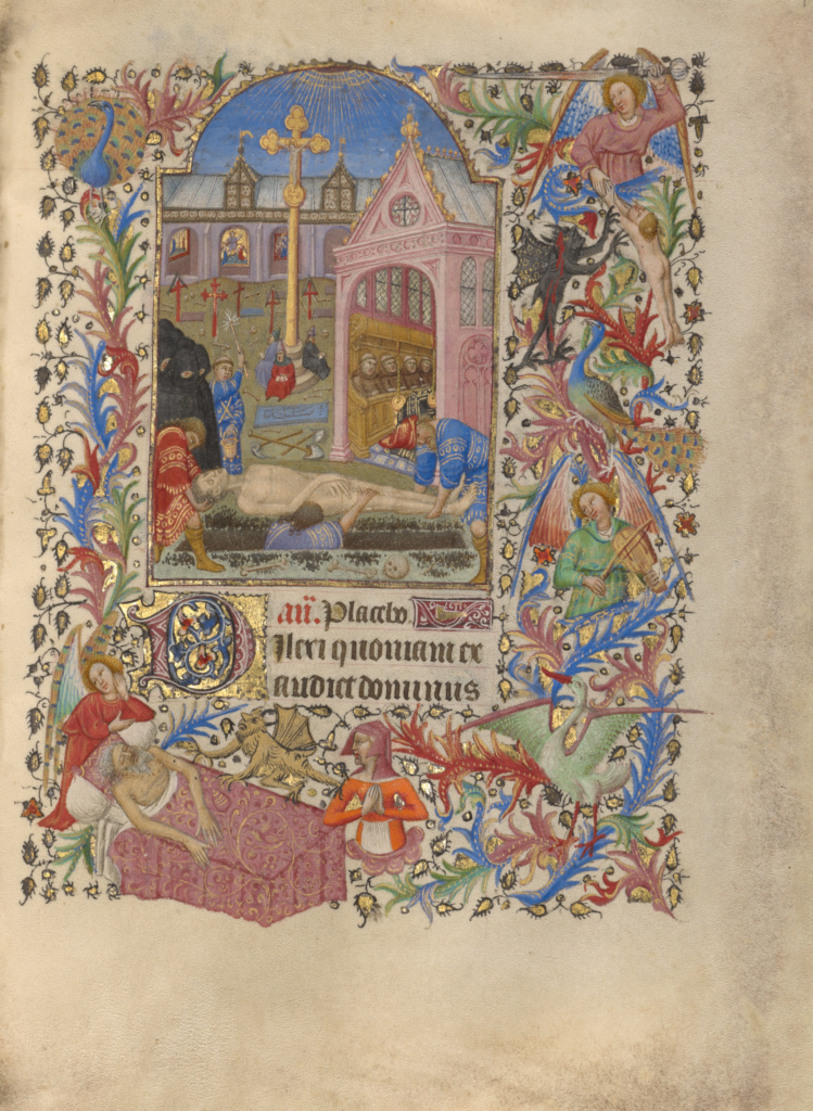A Burial; Spitz Master (French, active about 1415 - 1425); about 1420; Tempera colors, gold, and ink on parchment; Leaf: 20.2 × 14.9 cm (7 15/16 × 5 7/8 in.); Ms. 57 (94.ML.26), fol. 194; Rights Statement: No Copyright - United States