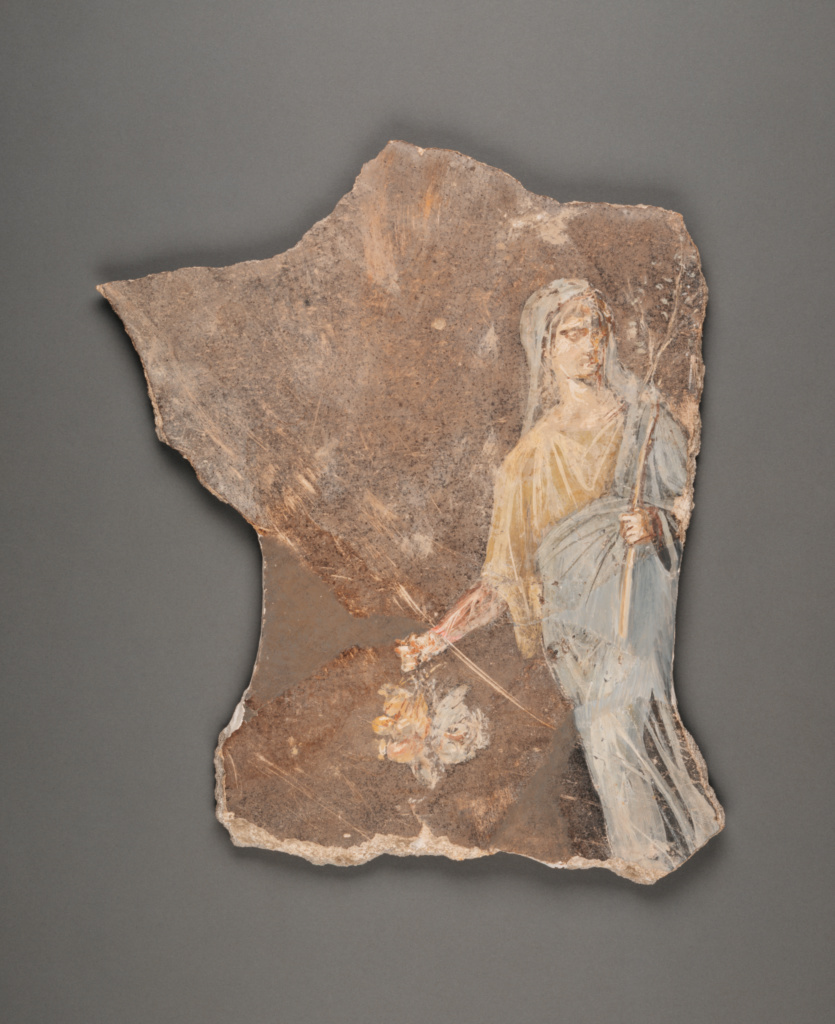 Fresco Fragment; Unknown; Roman Empire; 1st century A.D.; Fresco; 46 × 35.5 cm (18 1/8 × 14 in.); 96.AG.296.2; The J. Paul Getty Museum, Villa Collection, Malibu, California, Gift of Barbara and Lawrence Fleischman; Rights Statement: No Copyright - United States