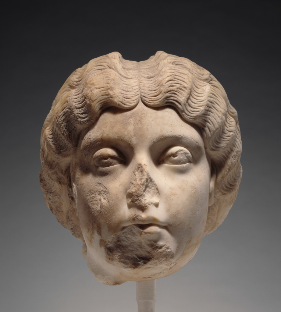 Portrait Head of Faustina the Younger; Unknown; Roman Empire; about A.D. 170; Marble; 24 cm (9 7/16 in.); 96.AA.298; The J. Paul Getty Museum, Villa Collection, Malibu, California, Gift of Barbara and Lawrence Fleischman; Rights Statement: No Copyright - United States