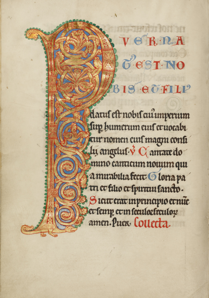 Inhabited Initial P; Unknown; Steinfeld, Germany; about 1180; Tempera colors, gold, silver, and ink on parchment; Leaf: 25.2 × 17.9 cm (9 15/16 × 7 1/16 in.); Ms. Ludwig V 4 (83.MG.79), fol. 9v; The J. Paul Getty Museum, Los Angeles, Ms. Ludwig V 4, fol. 9v; Rights Statement: No Copyright - United States