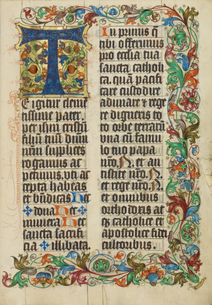Decorated Initial T; Unknown; about 1500 - 1505; Tempera colors, gold paint, and ink on parchment; Leaf: 38.7 × 27.9 cm (15 1/4 × 11 in.); Ms. 18 (86.MG.480), fol. 158; Rights Statement: No Copyright - United States