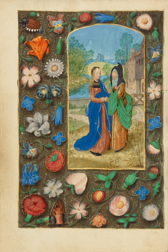 The Visitation; Master of the Dresden Prayer Book or workshop (Flemish, active about 1480 - 1515); Bruges, Belgium; about 1480–1485 ?; Tempera colors and gold on parchment; Leaf: 20.5 × 14.8 cm (8 1/16 × 5 13/16 in.); Ms. 23 (86.ML.606), fol. 71v; The J. Paul Getty Museum, Los Angeles, Ms. 23, fol. 71v; Rights Statement: No Copyright - United States