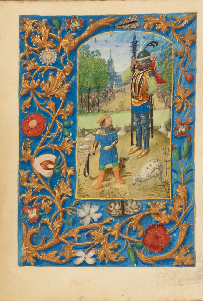 Crohin-La Fontaine Hours; Master of the Dresden Prayer Book (Flemish, active about 1480 - 1515), Master of the Dresden Prayer Book and workshop (Flemish, active about 1480 - 1515); Bruges, Belgium; about 1480–1485 ?; Tempera colors, gold paint, and iron gall ink on parchment bound between pasteboard covered with brown calf; Leaf: 13.3 × 9.4 cm (5 1/4 × 3 11/16 in.); Ms. 23 (86.ML.606); The J. Paul Getty Museum, Los Angeles, Ms. 23; Rights Statement: No Copyright - United States