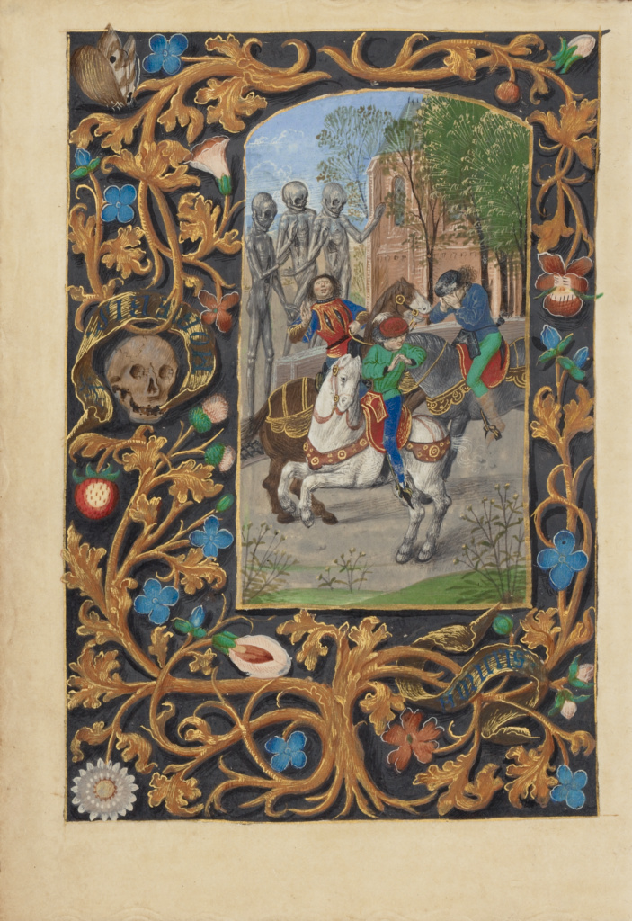 The Three Living and the Three Dead; Master of the Dresden Prayer Book or workshop (Flemish, active about 1480 - 1515); Bruges, Belgium; about 1480–1485 ?; Tempera colors and gold; Leaf: 20.5 × 14.8 cm (8 1/16 × 5 13/16 in.); Ms. 23 (86.ML.606), fol. 146v; The J. Paul Getty Museum, Los Angeles, Ms. 23, fol. 146v; Rights Statement: No Copyright - United States