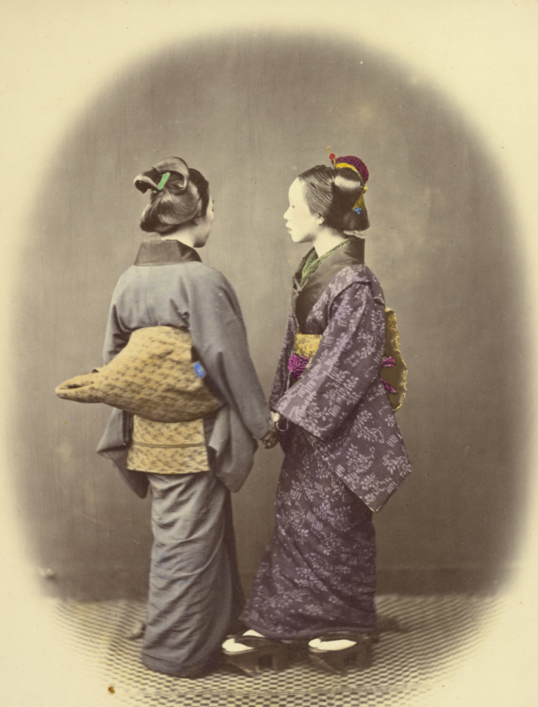Two Japanese Women; Felice Beato (English, born Italy, 1832 - 1909); Japan; 1866–1867; Hand-colored albumen silver print; 23.7 × 18.1 cm (9 5/16 × 7 1/8 in.); 84.XO.613.90; The J. Paul Getty Museum, Los Angeles; Rights Statement: No Copyright - United States