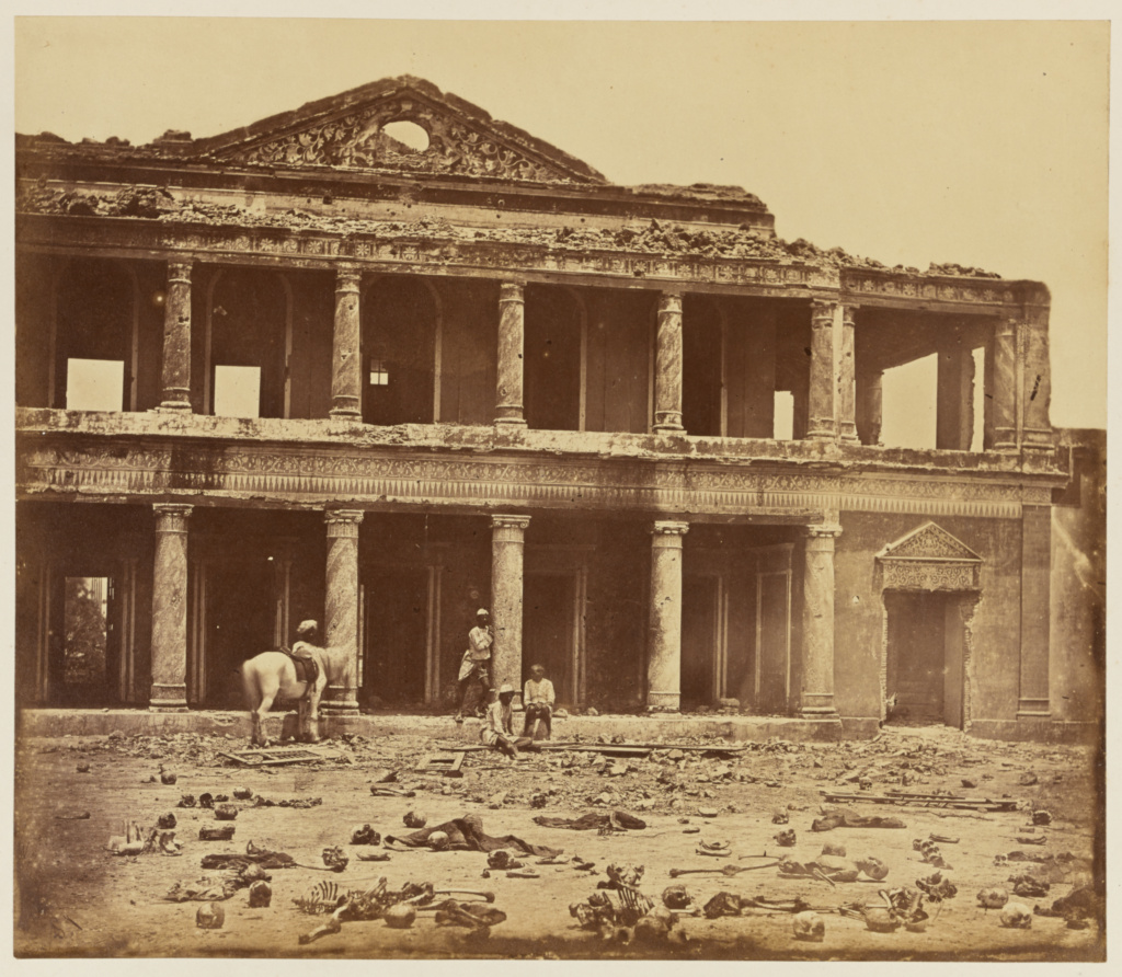 [Sikandrahbagh After Slaughter of the Rebels by the 93rd Highlanders of 4th Panjal Native Infantry]; Felice Beato (English, born Italy, 1832 - 1909); India; 1858; Albumen silver print; 26 × 30.2 cm (10 1/4 × 11 7/8 in.); 84.XO.1168.7; The J. Paul Getty Museum, Los Angeles; Rights Statement: No Copyright - United States