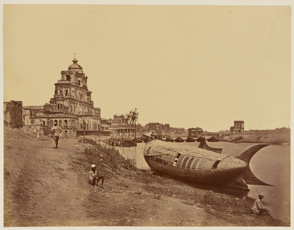 [Chutter Manzil Palace, with the King's Boat in the Shape of a Fish on the Gomti River]; Felice Beato (English, born Italy, 1832 - 1909); India; 1858; Albumen silver print; 23.4 × 30 cm (9 1/4 × 11 13/16 in.); 84.XO.1168.13; The J. Paul Getty Museum, Los Angeles; Rights Statement: No Copyright - United States