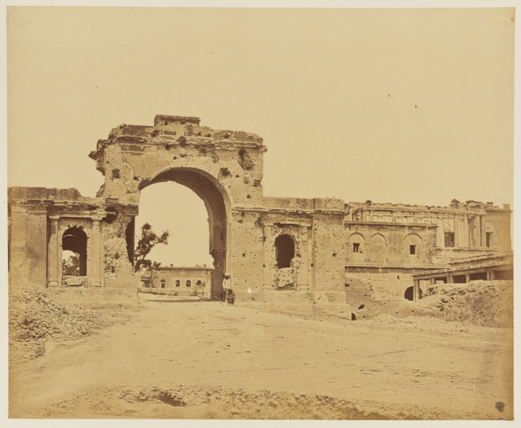 [Gateway Leading into The Residency, Commonly the Bailee Guard Gate, Held by Lieutenant-Colonel R.H.M. Aitken, of the 13th Bengal Native Infantry]; Felice Beato (English, born Italy, 1832 - 1909); India; 1858; Albumen silver print; 24.8 × 30.4 cm (9 3/4 × 12 in.); 84.XO.1168.15; The J. Paul Getty Museum, Los Angeles; Rights Statement: No Copyright - United States